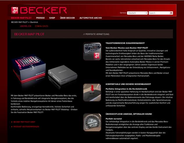 Im Markenportal myBecker ist das Becker® MAP PILOT-Shopsystem eingebunden.