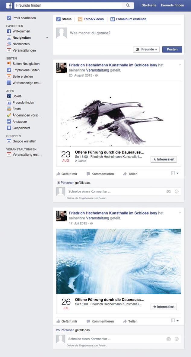 Liveübertragungen von Events und Vernissagen in der Kunsthalle Isny über Social Media