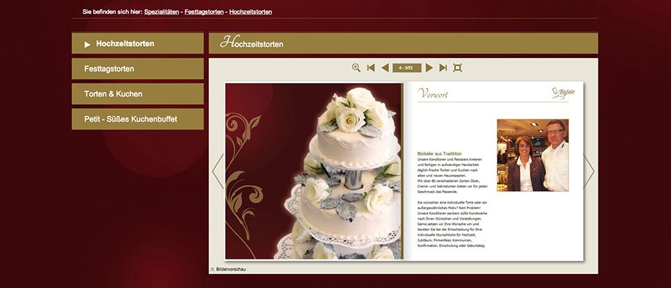 Ein besonderes Highlight auf der Webseite: das Interaktive Tortenbuch
