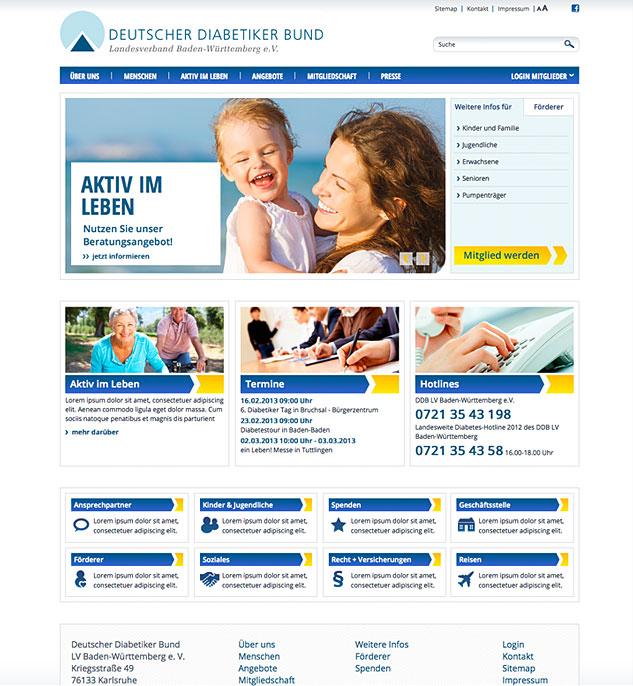 Web-Relaunch für den Deutschen Diabetiker Bund Landesverband Baden-Württemberg e. V.