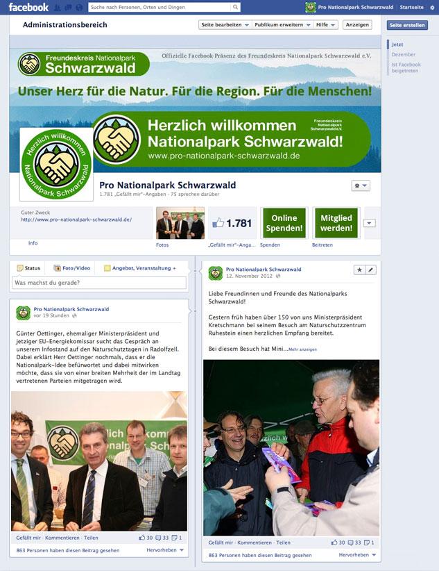 Facekook-Präsenz des Freundeskreises Nationalpark Schwarzwald e. V. für mehr Bürgernähe und Beteiligung