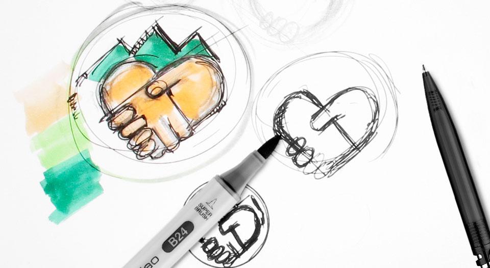Erste Entwürfe für das Logo, die Grundlage der Kampagne