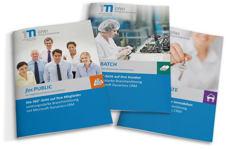 Broschüren der verschiedenen Bereiche und Produkte